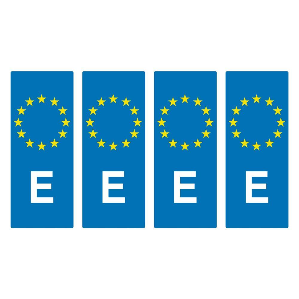 4 X VINYL ADHESIVE BUMPER SPAIN EU LICENSE PLATE HOLDER AND UNION EUROPE PLATE STICKER
