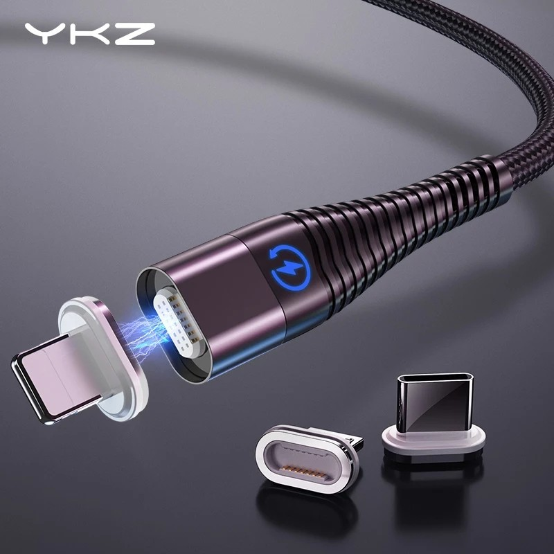 YKZ Magnetic Cable Micro Type C Cable LED Light Fast Charging Magnet USB C Cable for iphone Samsung Xiaomi Data Wire Cord 1m 2m Mobile Phone Cables    - AliExpress