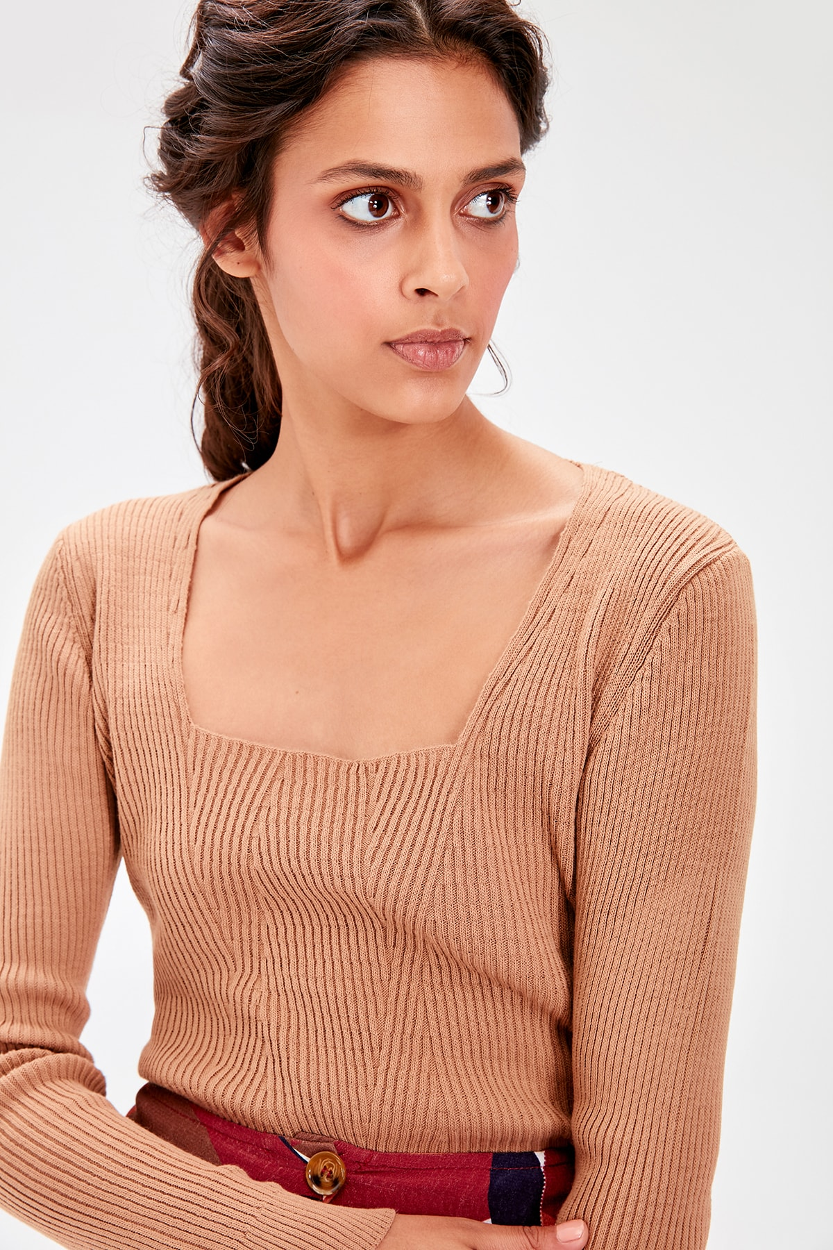 Trendyol Camel Square Collar Basic Sweater Sweater TWOAW20KZ0174