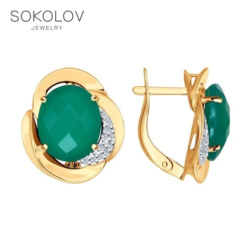 Drop Earrings With Stones With Stones With Stones With Stones With Stones With Stones With Stones With Stones With Stones With Stones With Stones With Stones SOKOLOV Gold With Cubic Zirconia And Agate Fashion Jewelry 585 Women's Male