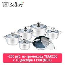 Набор посуды BOLLIRE с крышками(12 предметов