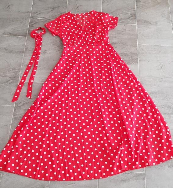 Boho Polka Dot Long Dresses Women Split Short Sleeve Summer Casual Dress Streetwear Black Maxi Dress Vestidos photo review