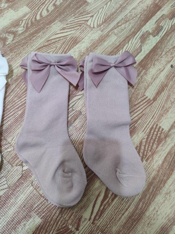 2020 Baby Girls Socks New Toddlers Girl Big Bow Knee High Long Soft Kids Socks Bowknot 100% Cotton 0-3 Years Newborn Socks photo review
