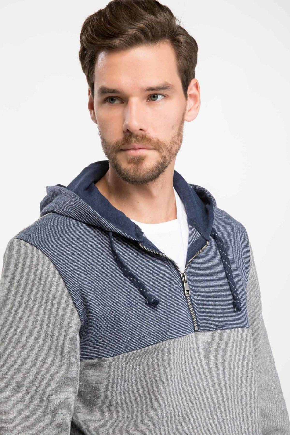 DeFacto Men Casual Hoodies Patchwork Zipper Long Sleeves Sportwear Men Loose Hoodies Autumn Spring New  - J2988AZ18WN