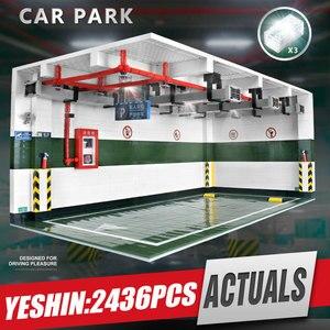 Image 1 - Yeshin Techic części samochodowe 1:8 Technic Parking Model zestawy montażowe klocki klocki akcesoria samochodowe dzieci prezent na boże narodzenie