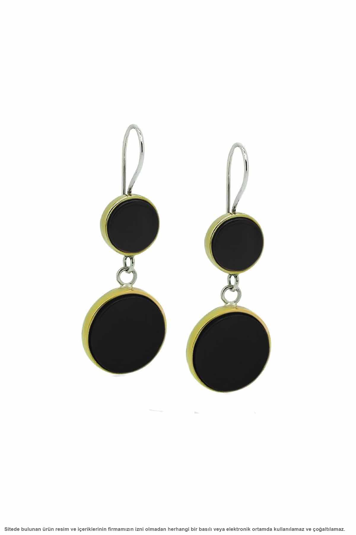 Silver Round Onyx Stone Women Earrings