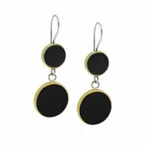 Silver Round Onyx Stone Women Earrings