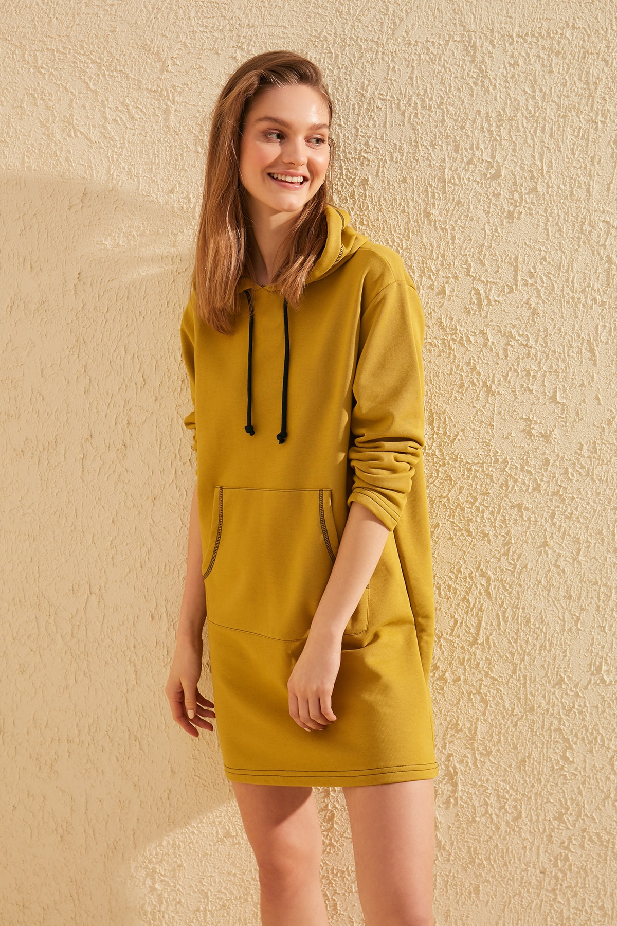 Trendyol Spreader With Stitching Detail Hooded Knitted Sweat Dress TWOSS20EL0857