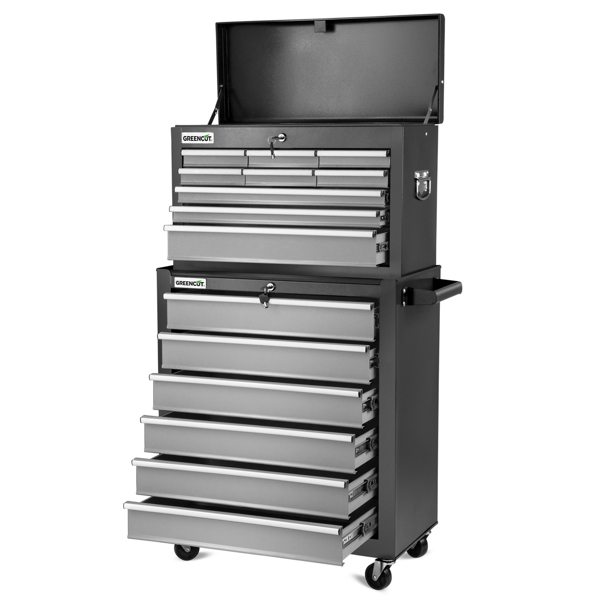 Trolley Tools GREENCUT Silver Color, Box Mobile Tools 4 Wheels With 16 Drawers, Furniture Storage Garage