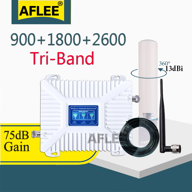 75dB 4G Signal Amplifier 900 1800 2600 Tri-Band Booster 2G 3G 4G LTE 1800 Cellular Signal Amplifier Cell Phone Signal Repeater