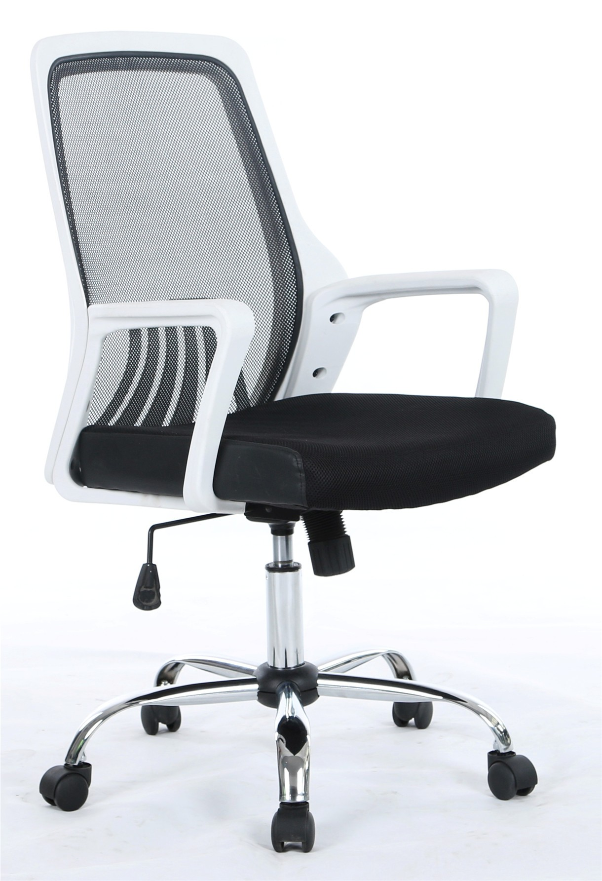 Office Armchair GREIT, White, Gas, Rocker, Mesh And Black Fabric