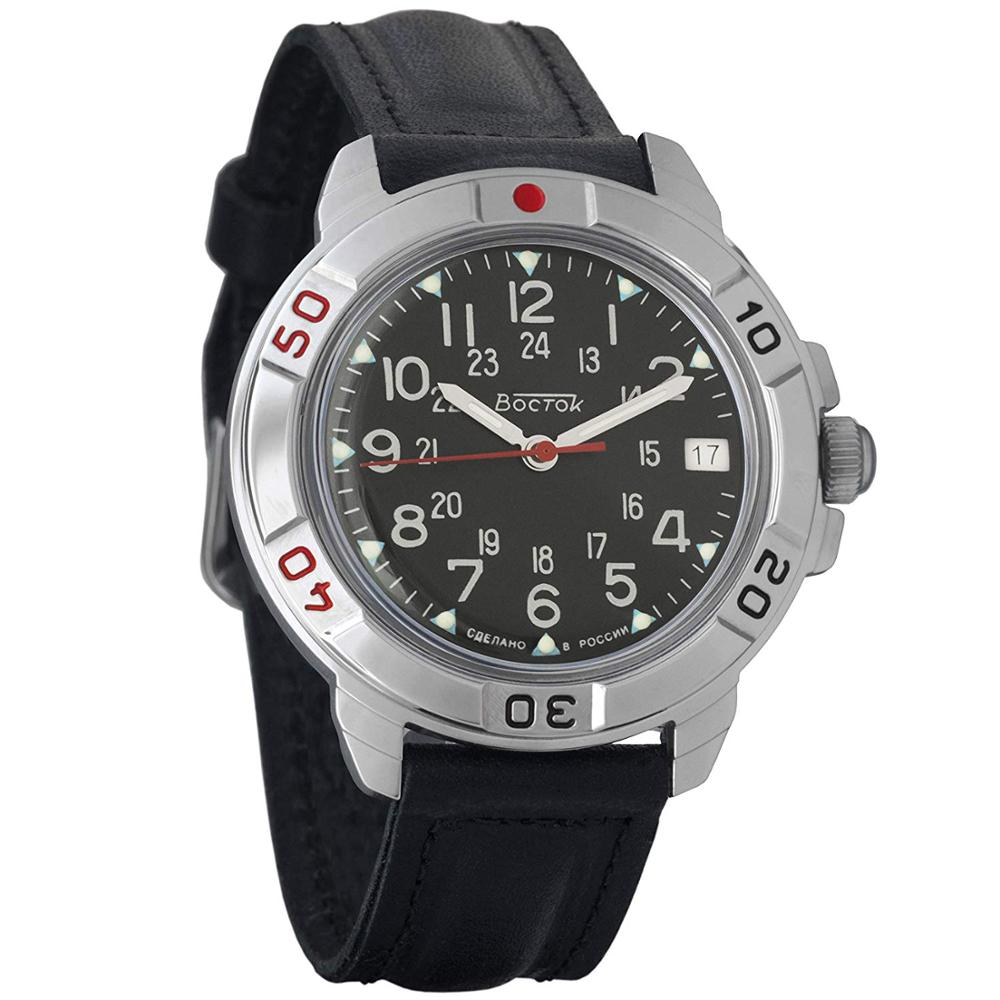 Watch Vostok Komandirskie 431783 Mechanical Men's Military Watch Hand Winding Black Dial