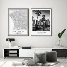 Карта города Лос Анджелес современное здание ландшафт холст