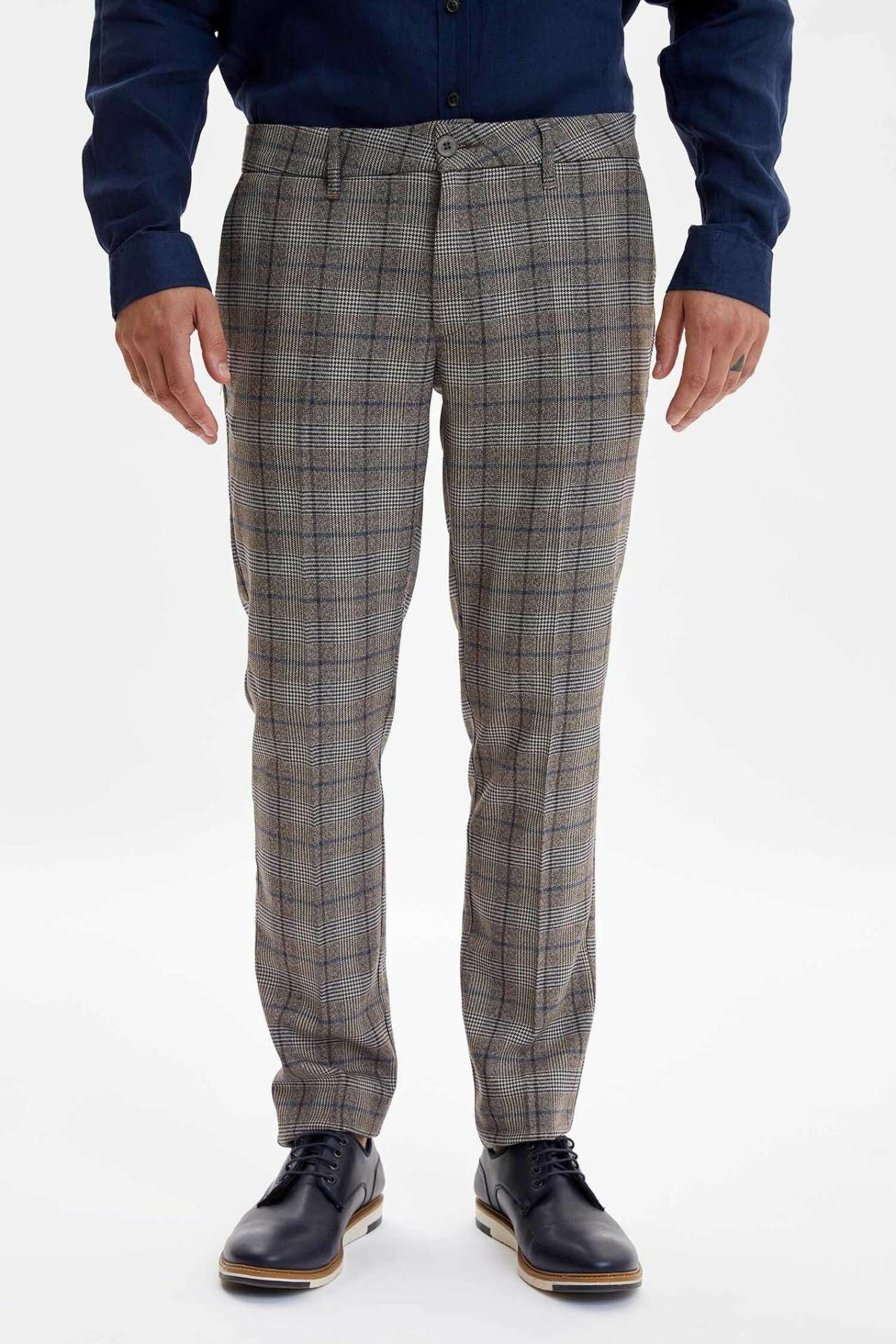 DeFacto Man Fashion Straight Trousers Male Plaid Casual High Quality Leisure Long Pants For Men's Autumn New - L3263AZ19AU