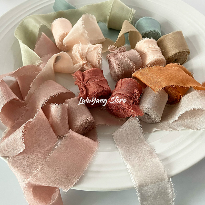 Real Pure Silk Ribbon Embroidery Satin Cotton Raw Edge For Handcrafts Wedding Party Bridal Bouquet Invitations Rustic Styling