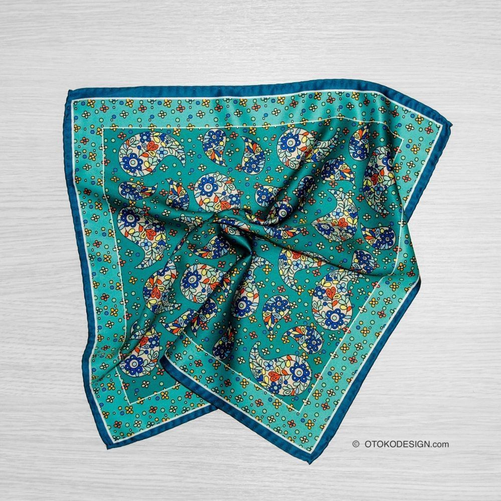 Silk Scarf In Blue Cucumber Jacket Pocket (52888)
