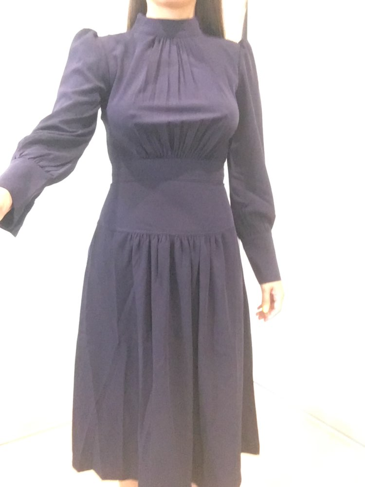 Office Ladies Stand Collar Lantern Sleeve Women Dress Elegant Slim Waist A Line Ruched Female Long Dress Party Vestidos Femme photo review