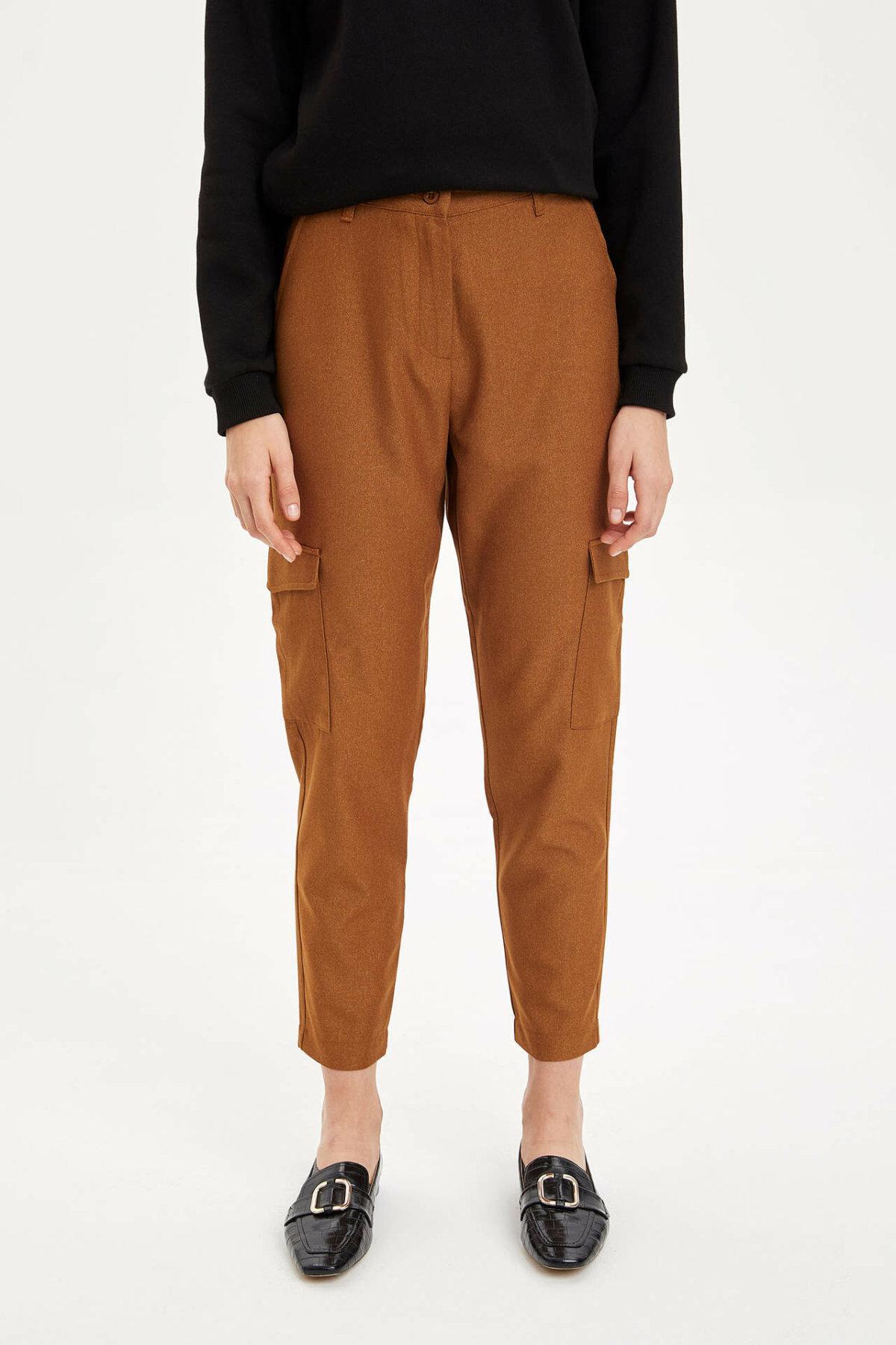 DeFacto Woman Winter Cargo Pants Women Poackets Decors Long Pants Female Black Skinny Bottoms Trousers-M8825AZ19WN