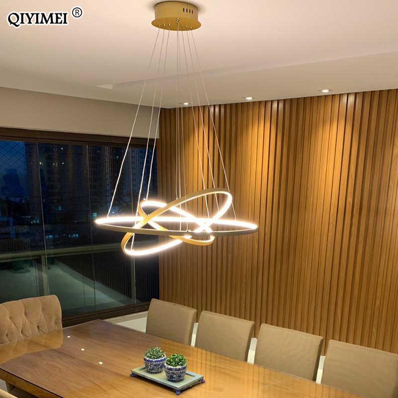 โมเดิร์นไฟ LED จี้สำหรับห้องนั่งเล่นห้องรับประทานอาหารสีขาว golden กาแฟสีดำวงกลมแหวนอลูมิเนียมโคมไฟติดตั้งโคมไฟ home