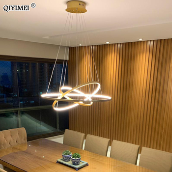 Modernas Luces LED Colgantes Para Sala De Estar Comedor Blanco Dorado Café Negro Círculo Anillos Aluminio Cuerpo Lámpara Accesorios Lámpara Hogar