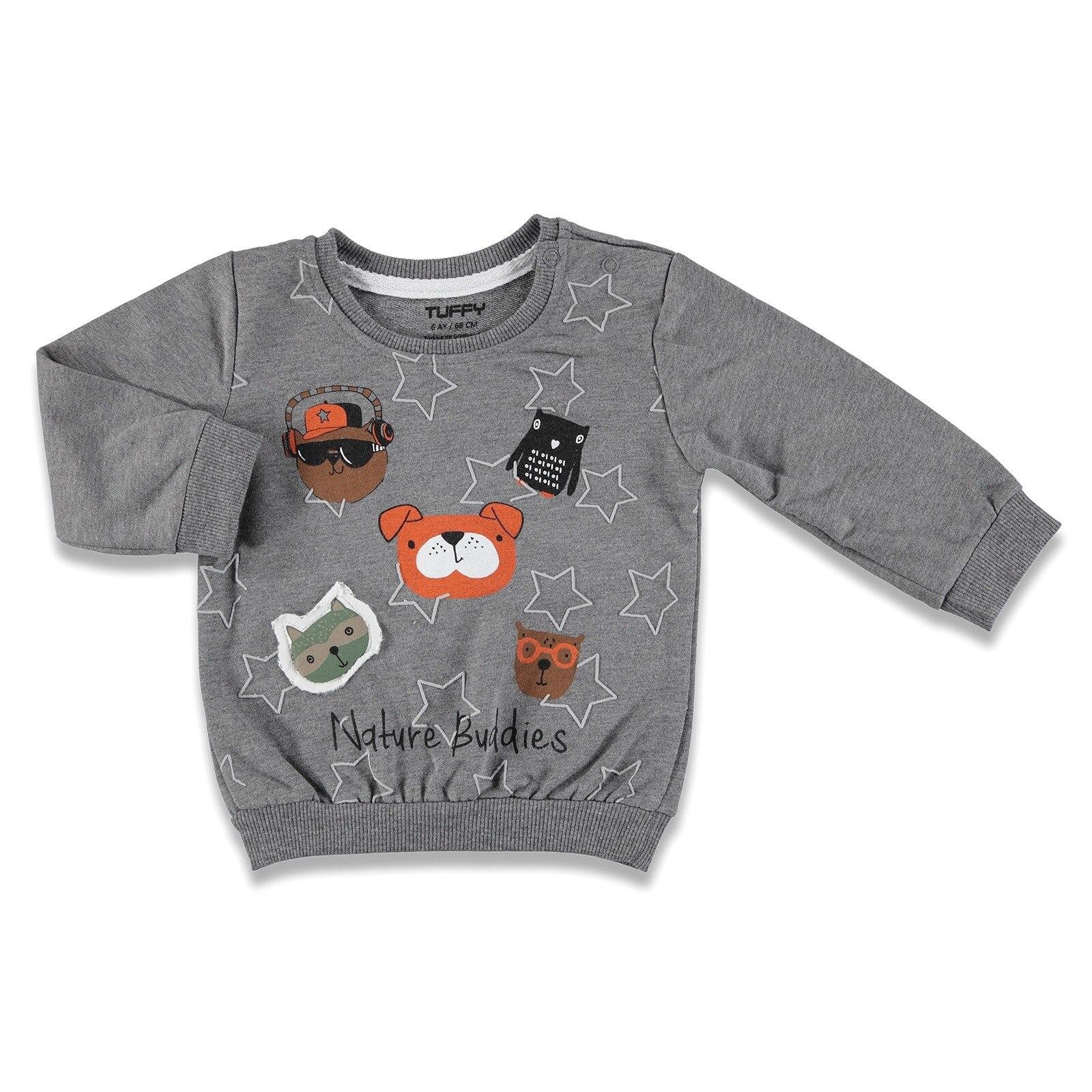 Ebebek Tuffy Fun Animals Printed Baby Boy Sweatshirt