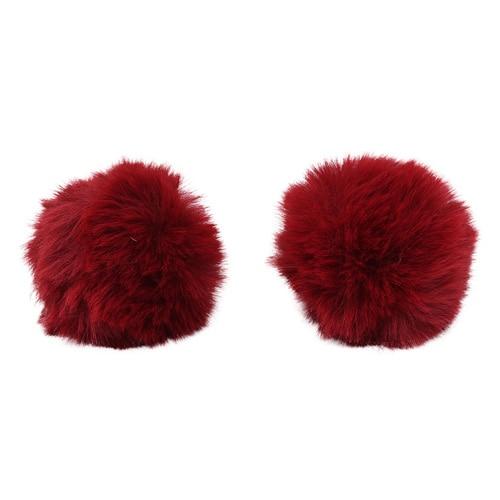 Pompon Made Of Artificial Fur (rabbit), D-6cm, 2 Pcs/pack (K Bordeaux)