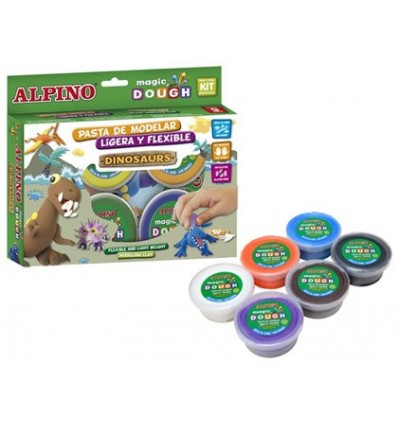 PASTE ALPINE FOR MODELING MAGIC DOUGH DINOSAURS BOX 6 COLORS 40 GR
