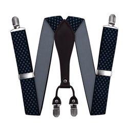 Bretelles pour pantalon large (3.5 cm, 4 clips, bleu, texture), 55322