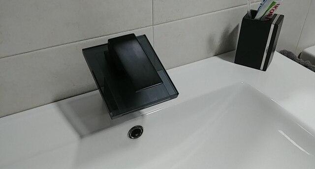 Bathroom Waterfall Faucet Glass Waterfall Brass Basin Faucet  Bathroom Mixer Tap Deck Mounted Basin Sink Mixer Tap|Basin Faucets| |  - AliExpress