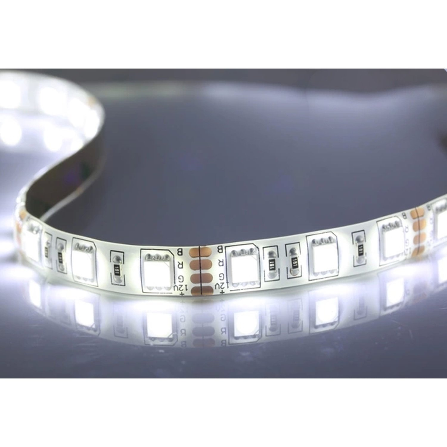 LED Strip 12V DC SMD5050 60LED/metre (5 Poke) 14W/Poke Bright White 6000-6500K