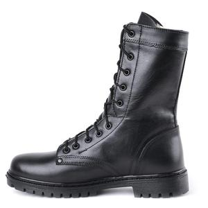 demiseason genuine leather black ankle boots men high shoes flat military boots 0049\11WA