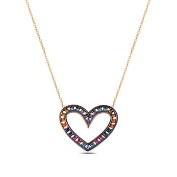 925 Sterling Silver Necklace Jewelry Multicolour Heart Stylish Women Gift Quality Jewelryes from Turkey