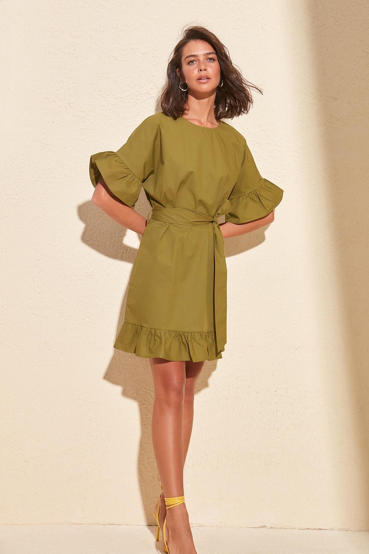 Trendyol Belted Flounces Dress TWOSS20EL0501