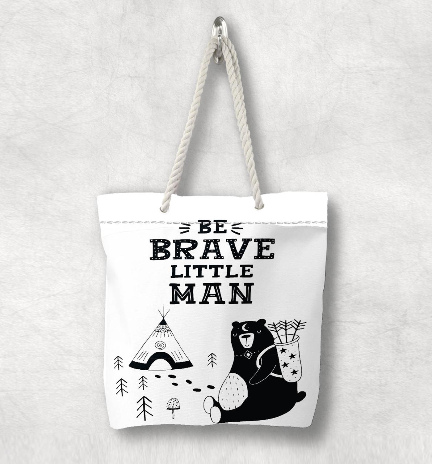 Else Black White Brave Man Bears Nordic Scandinavian White Rope Handle Canvas Bag  Cartoon Print Zippered Tote Bag Shoulder Bag