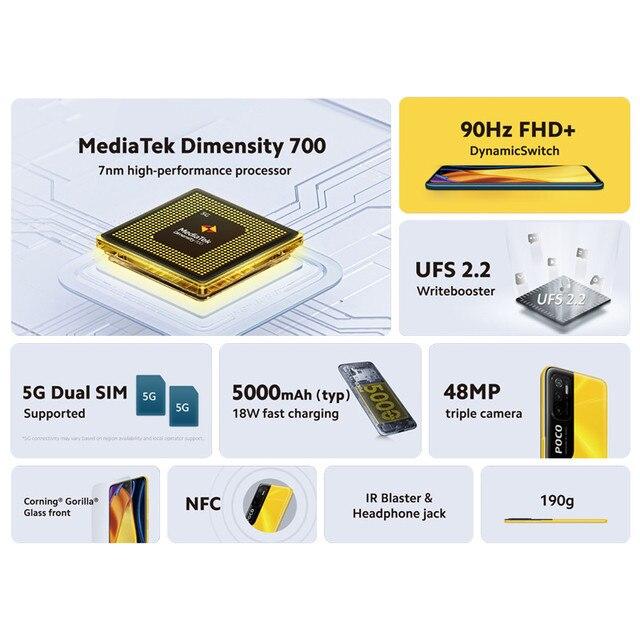 "Global Version POCO M3 Pro 5G Cellphone 64 /128GB ROM Dimensity 700 Octa Core 6.5"" 90Hz Display 48MP Triple Camera 5000mAh NFC 2"