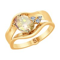 Sokolov ring in gold with diamonds and Morganite, fashion jewelry, 585, women's male