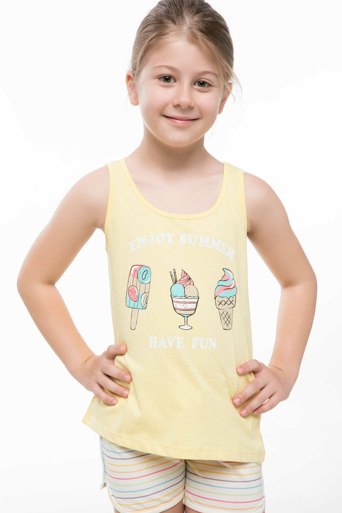 DeFacto Fashion Girl Vest Casual Kids O-neck Cartoon Pattern T-shirt Summer Loose Girls Tee Yellow  - J6626A618HS