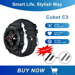 Cubot C3 SmartWatch Sport Heart Rate Sleep Monitor 5ATM Waterproof Touch Fitness Tracker Smart Watch for Men Women Android IOS