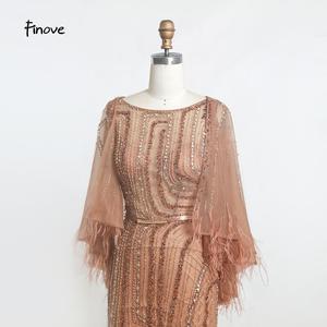 Image 4 - Finove בציר שמלת ערב ארוך 2020 חדש נובל שמפניה בת ים שמלת O צוואר חרוזים נוצות עם גלימת מסיבת שמלות בתוספת גודל
