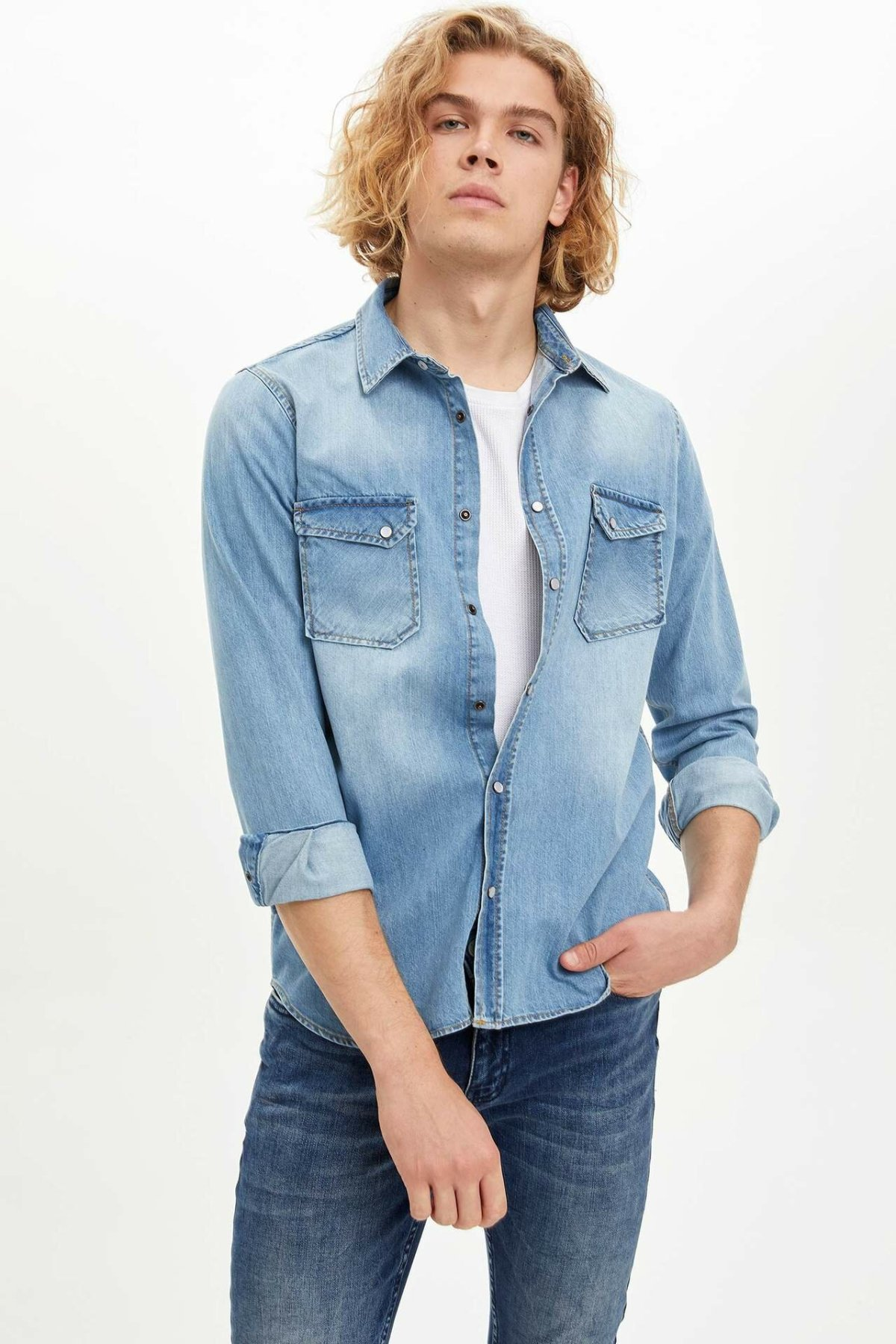 DeFacto Spring Man Long Sleeve Shirt Male Casual Denim Long Sleeves Coats Men's High Quality Simple Coat New - M9661AZ19WN