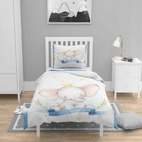 Else 4 Pcs Blue White Prince Elephant Nordec 3D Print Cotton Satin Chidren Kids Duvet Cover Bedding Set Pillow Case Bed Sheet|Duvet Cover| |  -