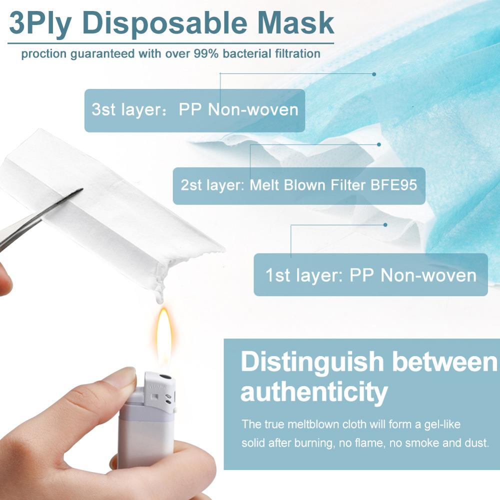 Image 4 - In Stock Fast Delivery Disposable Face Masks 3 Layer Nonwove Filter Mouth Mask Earloop protection Anti Pollution Anti Dust MaskParticle Respirators   -