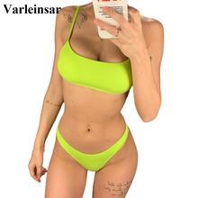 Thong Bikini Bathing-Suit Women Swimwear Ribbed Two-Pieces Sexy Neon Yellow V1295