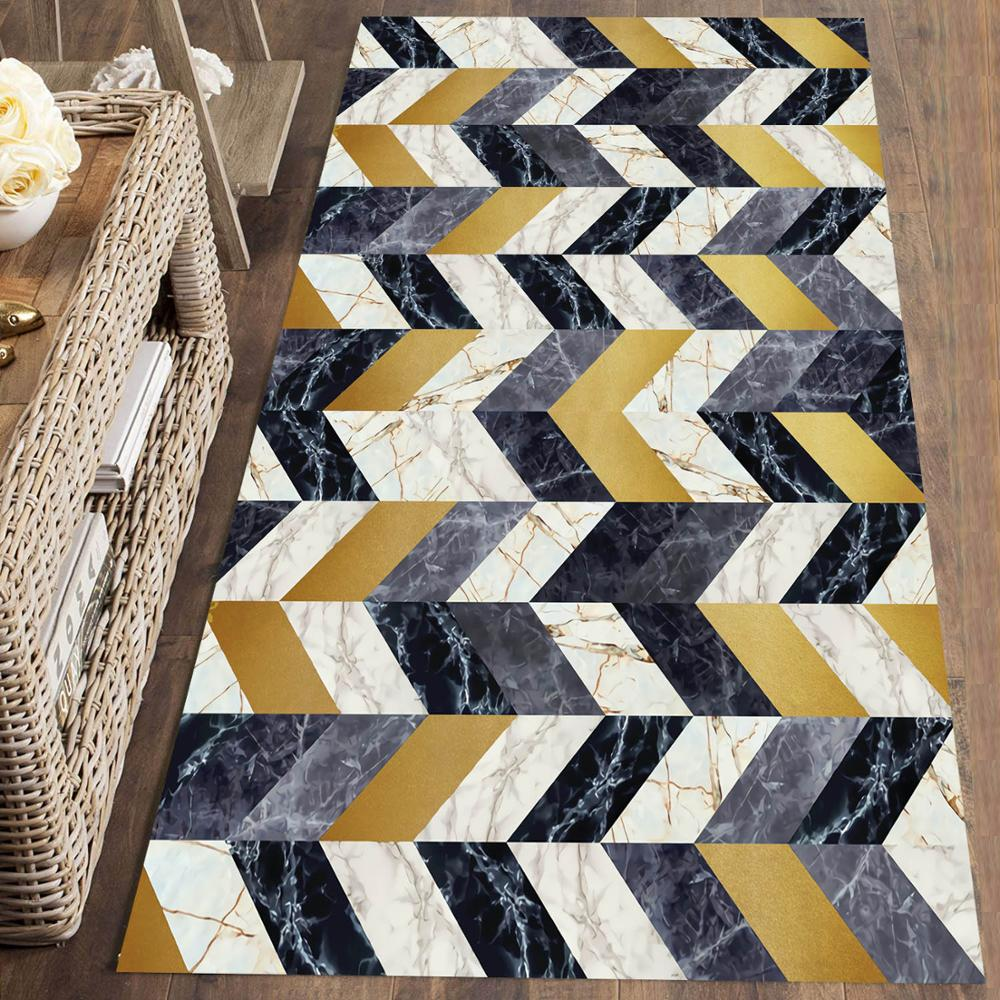 Else Gray Yellow Marble Geometric Nordec 3d Print Non Slip Microfiber Washable Long Runner Mat Floor Mat Rugs Hallway Carpets