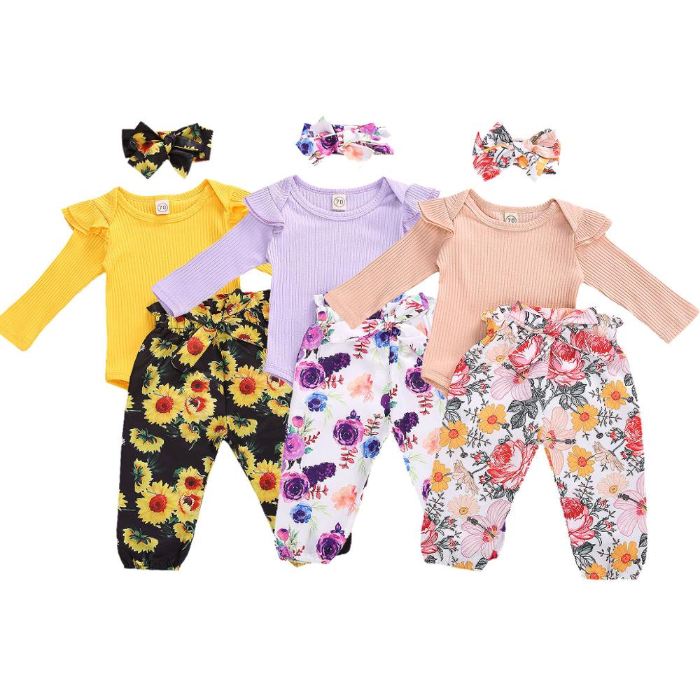 Ma&Baby 0-24M Floral Newborn Infant Baby Girl Clothes Set Soft Knitted Romper Bow Pants Headband Outfits Autumn Baby Clothing