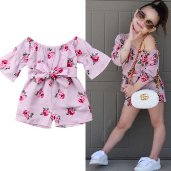 Kids Baby Girl Flower Romper Off Shoulder Bow  Jumpsuit Sunsuit Summer Outfits Clothes 2020 Hot baby girl clothes summer ruffled sleeves blue white plaid baby romper newborn toddler kids jumpsuit sunsuit outfits