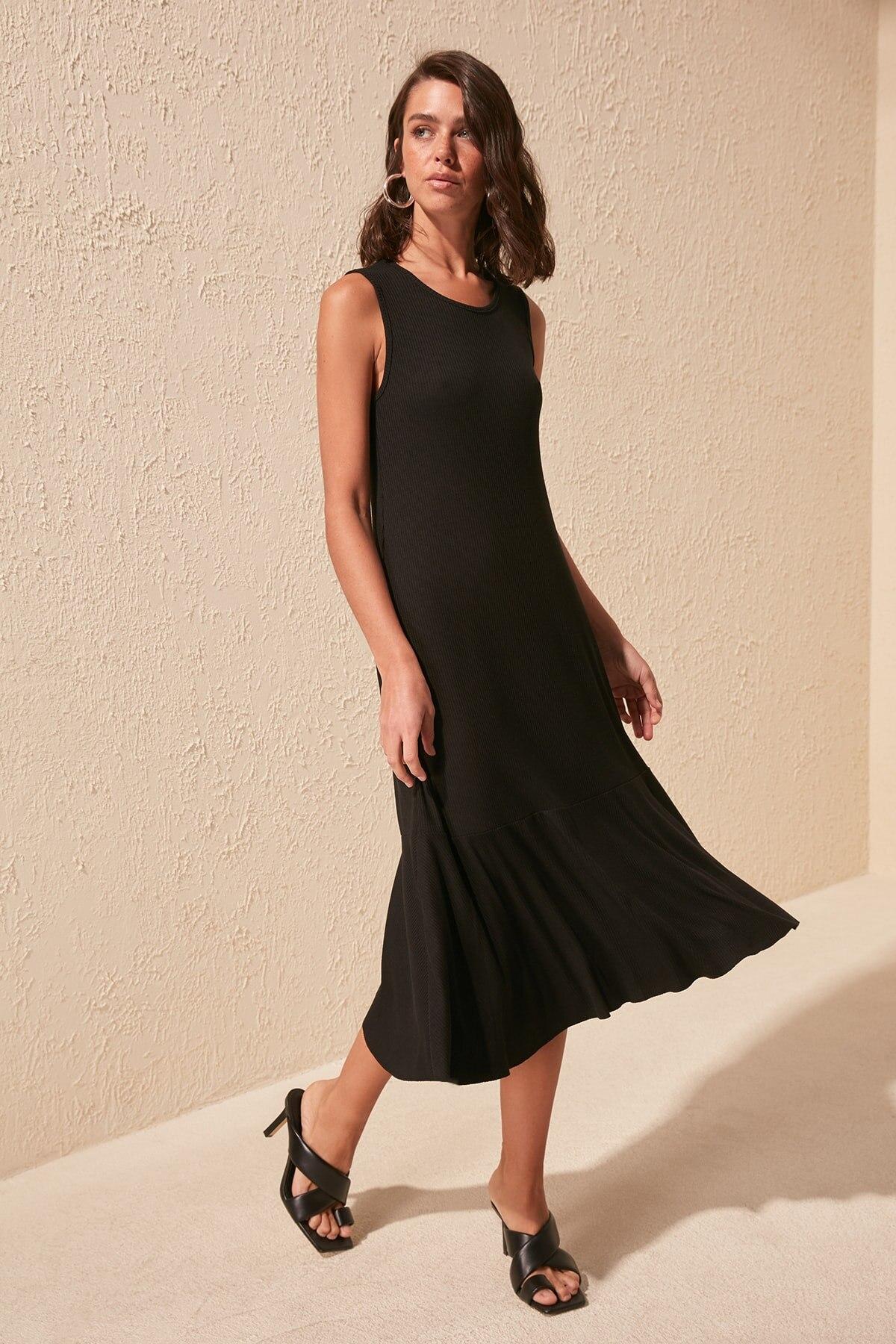 Trendyol Basic Ribbed Knit Dress TWOSS20EL1384