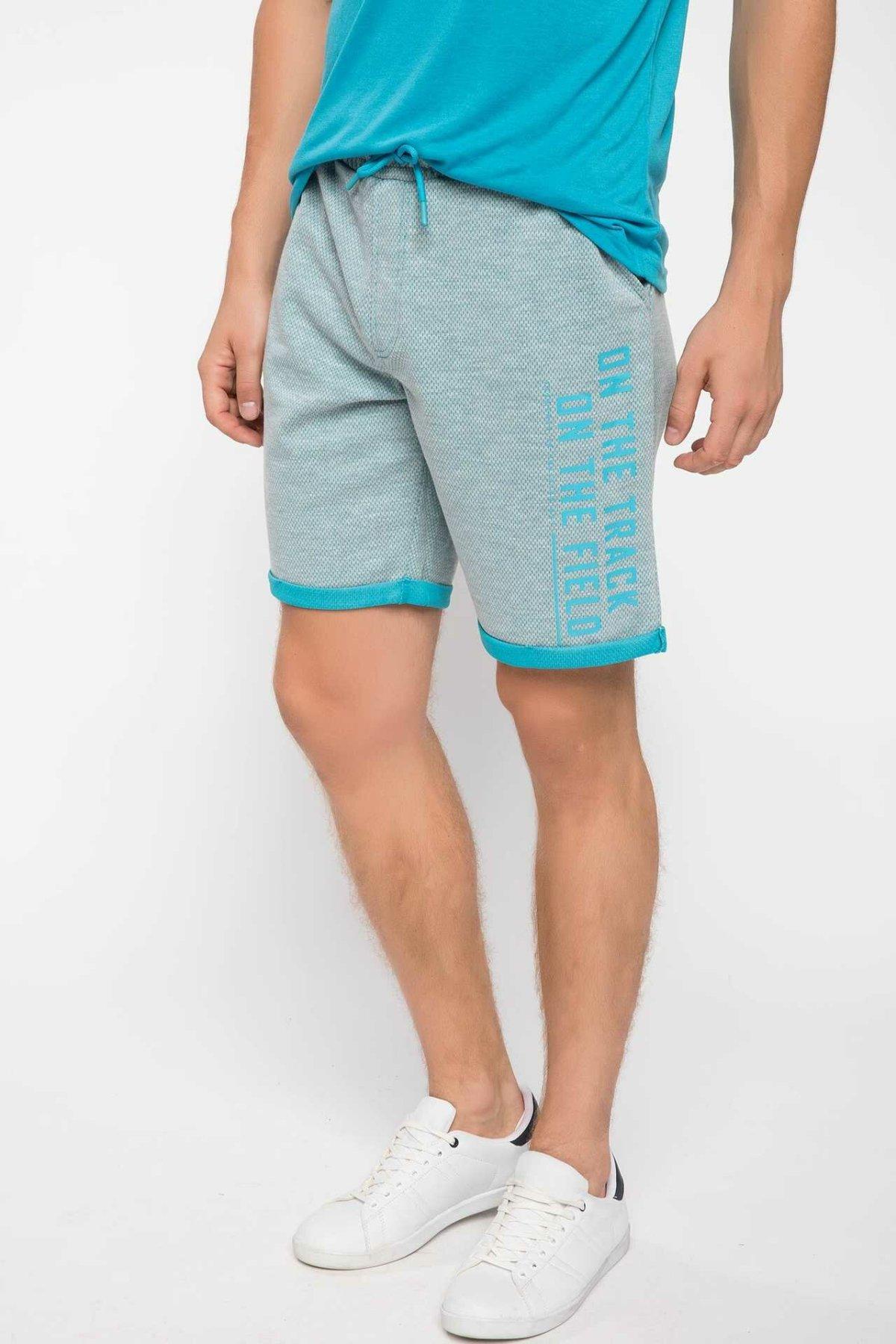 DeFacto Summer Man Cotton Bottoms Fashion Male Letter Pattern Side Shorts Men's Casual Loose Sweatpants New - I8621AZ18HS