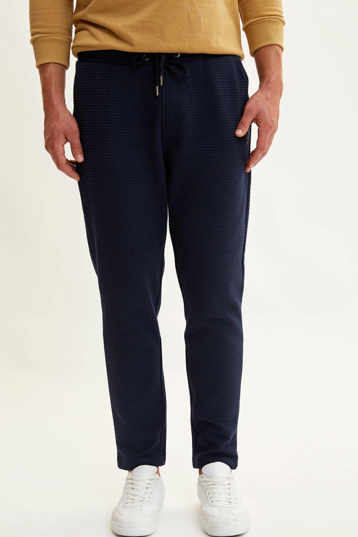 DeFacto Fashion Men's Sport Pants Casual Sweatpants For Men's Drawstring Loose Pants Leisure Black Long Pants -L5748AZ19AU