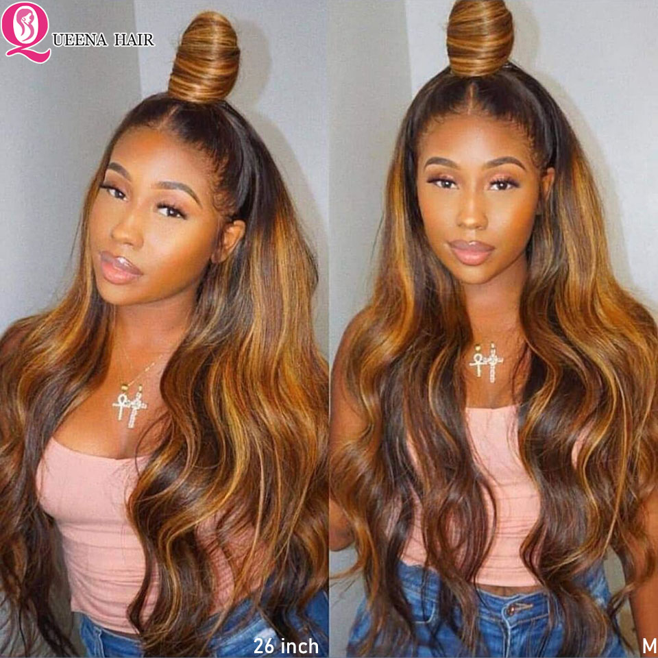Honey Blonde Highlight Wig 99j Body Wave Lace Front Human Hair Wigs 150% Ombre Brown Peruvian Pre Plucked 13x4 Lace  Wig Remy